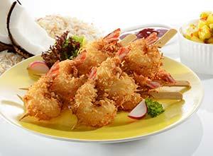 5 Golden Fresh coconut prawns