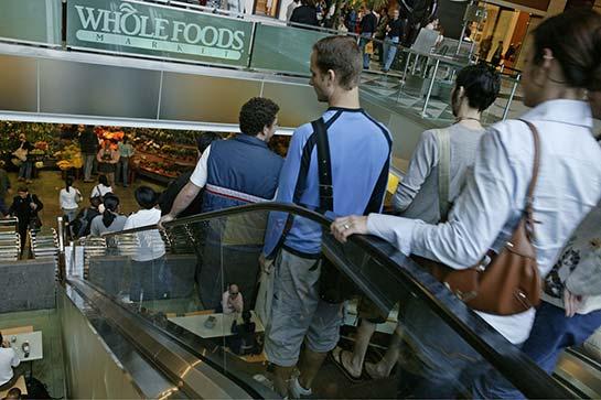 NYC whole food store escalator
