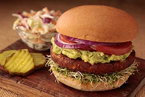 Veggie burger with guac 300